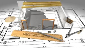 Blueprint and partial building model for Houston commercial construction